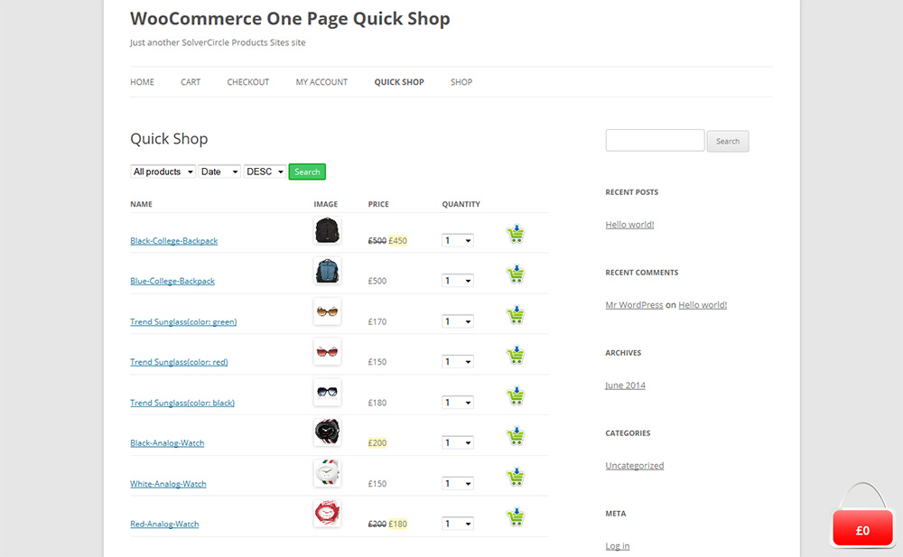 WooCommerce Quick Shop