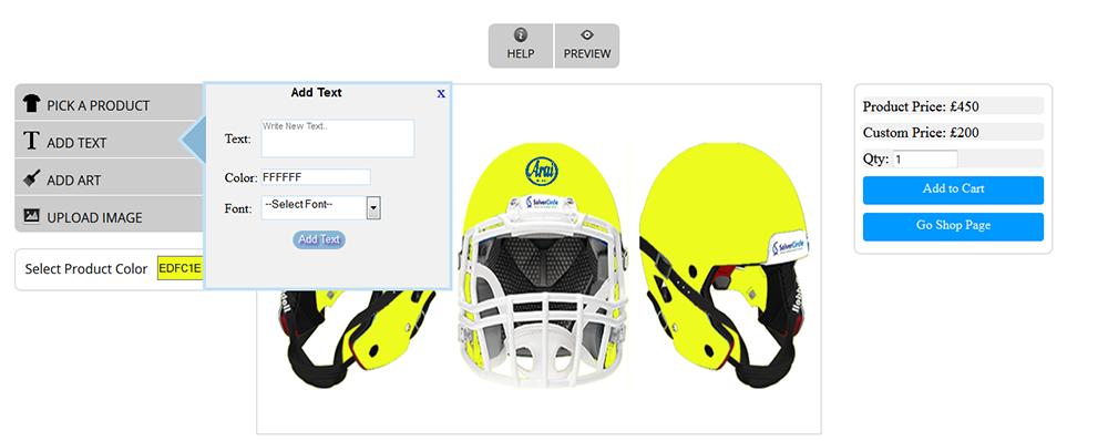 WooCommerce Custom Super Bowl Helmet Designer 13
